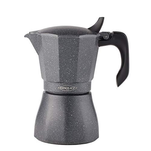 Oroley - Cafetera Italiana Petra | Base de Acero Inoxidable | 6 Tazas | Cafetera Inducción, Vitrocerámica, Fuego y Gas | Estilo Tradicional