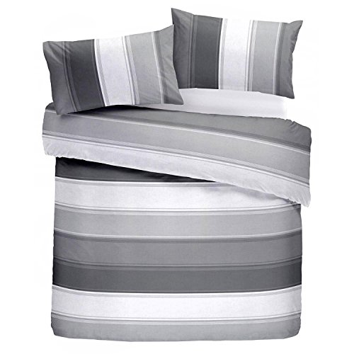 Fusion Betley edredón y Dos Fundas de Almohada, 52% poliéster, 48% algodón, Gris, King, W230cm x L220cm (Duvet Cover), W50cm x L75cm (Pillow Case)