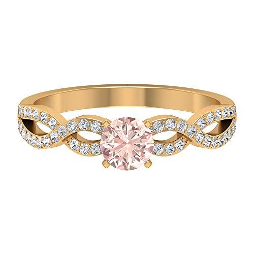 Rosec Jewels 14 quilates oro amarillo redonda round-brilliant-shape H-I Diamond Laboratorio de morganita creado