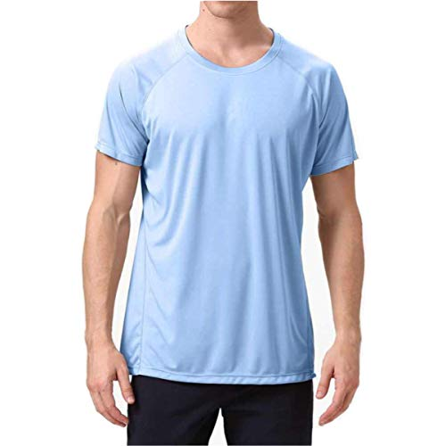 Short Sleeve Sun UV T-Shirt for Mens Workout Running Gym Quick Dry Shirts (SkyBlue, XL)