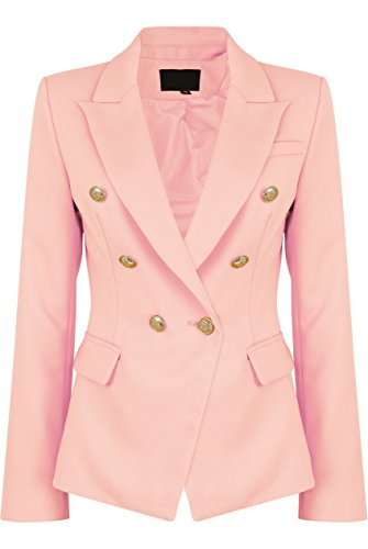 Womens Double Breasted Military Style Blazer Ladies Coat Jacket (US6, Pink)