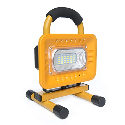 BIGSUN 30 LED Work Lights Outdoor Ultra Bright Floodlight 3 Modes and Red Blue SOS Modes Camping Lights Built-in Rechargeable Lithium Batteries with USB Ports to Charge Mobile Devices