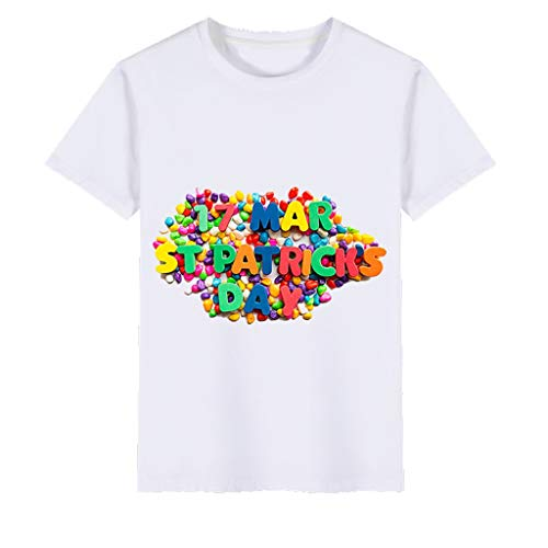 Baby Kids St.Patrick's Day T Shirt Meisjes Jongens Crew Neck Blouse Ierse Nationale Dag Tops Unisex Peuter Korte Mouw Shamrock Clover Cartoon Gedrukte Kleding Groen Tee Outfits voor 1-6 Jaar