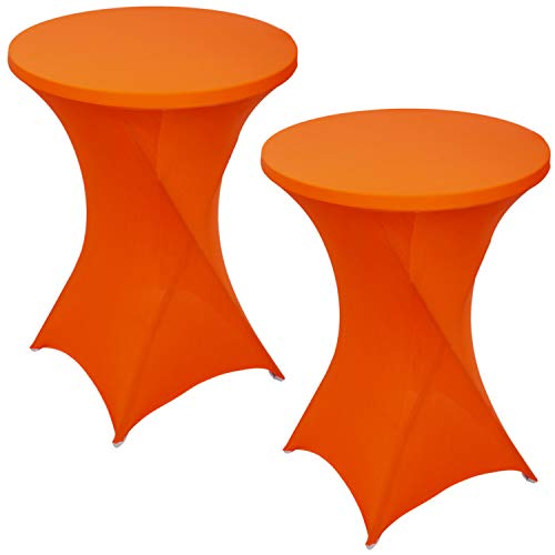 FDBW Lot de 2 Housses de Table Mange Debout | ∅80-85 cm x 110 cm - Nappe Extensible pour Table de Bar, Table Haute, Mariage, Restaurant, Traiteur, Événement, Cocktail | Couvre Table Ronde | Orange