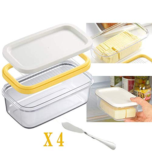YOUTH BURST Butter Dish Butter Keeper with Sealed Lid Bpa Butter Box Cheese Keeper for Refrigerate,Clear Butter Container, Note: Do Not Put It in A Microwave Or Oven,2