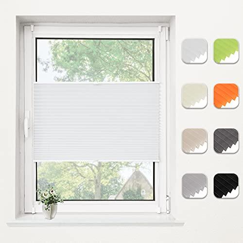 Bernice Plissee klemmfix ohne Bohren, Weiß 80x200cm(BxH) Easyfix Faltrollo mit Klemmträger, Crushed Optik Fensterrollo, Blendschutz Plisseerollo für Fenster & Tür