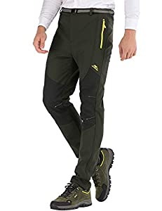 DAFENP Pantalones Trekking Hombre Impermeable Pantalones de Escalada Senderismo Alpinismo Invierno Polar Forrado Aire Libre KZ16608M-ArmyGreen1-M