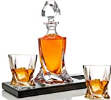 Bezrat Whiskey Glasses and Liquor Decanter set | (2) Crystal Bourbon Glasses with Matching Whiskey Decanter on beautiful wood tray | Glass Has a Sleek Square Twisted Bottom for Easy Handling