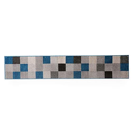 LOWYAキッチンマットマット240×45Lサイズモザイク柄ブルー