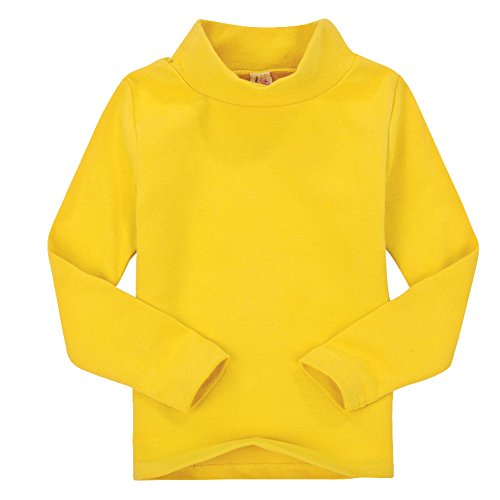 Casa Niños unisex Tops chica niña de manga larga camiseta de algodón cuello alto Tee variedad de colores (tamaño 2-6 años), Amarillo, 4 años