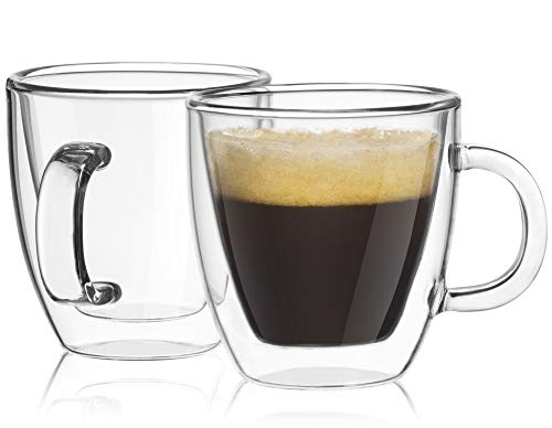 JoyJolt Savor Double Wall Insulated Glasses Espresso Mugs (Set of 2) - 5.4-Ounces