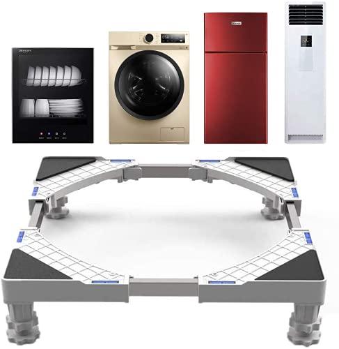 Base Lavatrice, SEISSO Carrello Lavatrice per Lavatrice Asciugatrice e Frigorifero, Regolabile Larghezza 50 a 66 cm, Altezza 9-13 cm, Capacità di Peso 300 kg