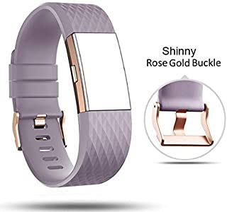 for Fitbit Charge 2 Bands Rose Gold Buckle,Charge 2 Sport Replacement Bands Lavender,DB Fitbit Charge 2 Accessory Wristbands Large