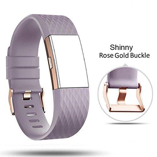 Band pour Fitbit Charge 2 Bracelet classique Fitness Flex réglable coloré Mode Sport et mise en veille Fermoir Bracelet de remplacement Accessoires, Rhombus Lavender