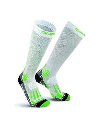 Oxyburn Running Knee-High Energr Compression XL Chaussettes Homme, White/Lizard, Size 45/47