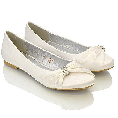 ESSEX GLAM Scarpa Donna Satin Matrimonio Festa (UK 5 / EU 38 / US 7, Bianco Satin)