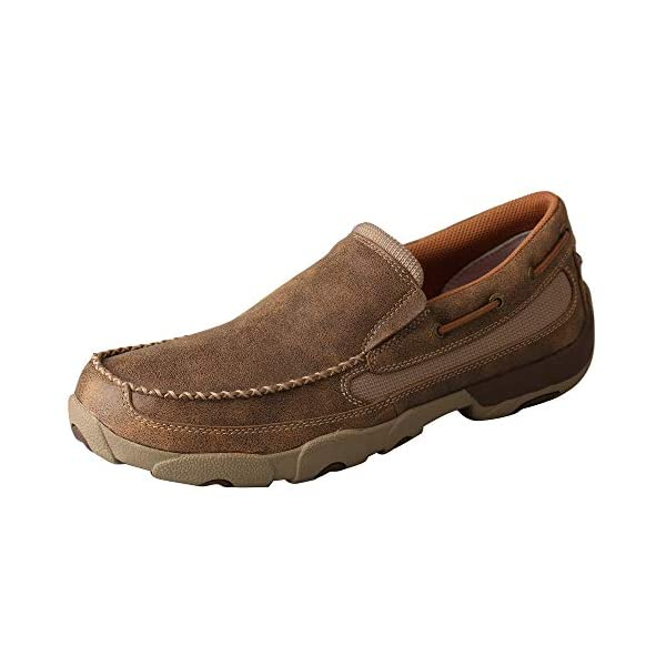 Twisted X Men's Slip-On Driving Moccasins Bomber/Bomber – Casual Walking Leather Footwear