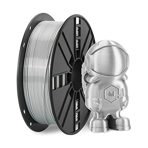 NOVAMAKER Silk Grey PLA Filament 1.75mm, Shiny Metallic Grey PLA 3D Printer Filament with Cleaning Filament, 1kg Spool(2.2lbs), Dimensional Accuracy +/- 0.02mm, Fit Most FDM Printer