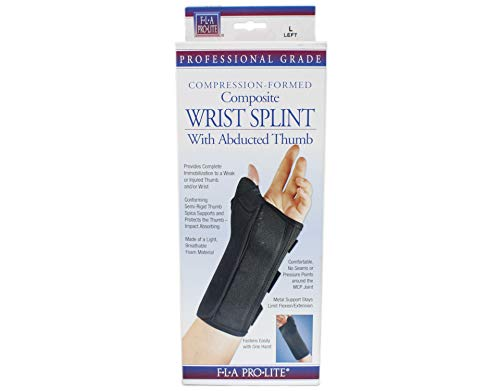 FLA Professional Wrist Splint with Abducted Thumb. Left. Black. Large