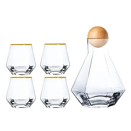 chenchen Colorful Glass Water Brocca Coppa Set Casa Cucina Drinkware Pitcher Esagonale Acqua Fredda Bollitore Bollitore Milk Succo di Vino Brocche Teacup Bottiglia (Color : Golden Side 5pcs)