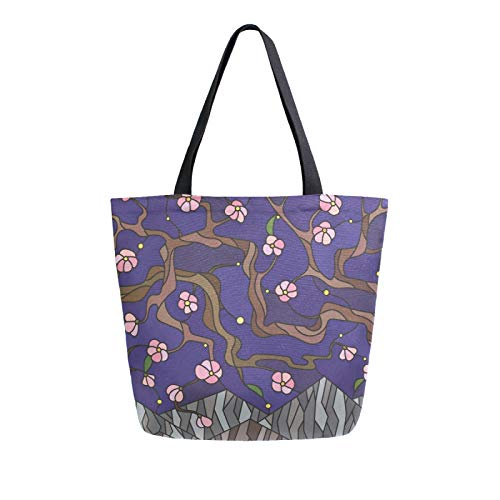 Ahomy Reusable Canvas Grocery Tote Bags, Cherry Blossom Mountain Starry Sky Women Handbag Shopping Tote Work School