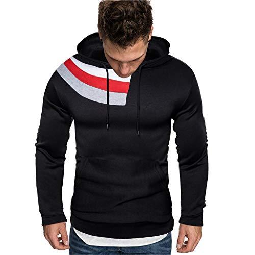 Best Deals! Men Winter Hoodies Slim Fit Casual Fashion Printed Patchwork Long Sleeve Hooded Sweaters...