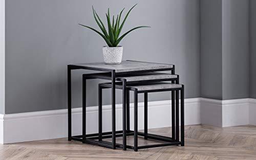 Julian Bowen Staten Nest of 3 Tables, Concrete Grey/Black