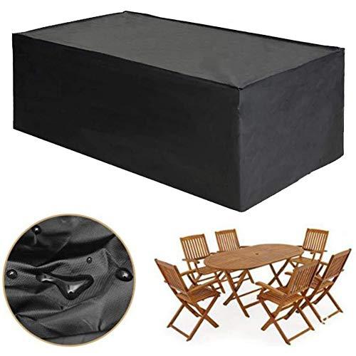 WUZMING-Gartenmöbel Abdeckung, Wasserdicht Anti-UV Rechteck Tisch- Und Stuhlüberzug Im Innenhof Oxford Tuch 12 Größen (Color : Black, Size : 123x62x55cm)
