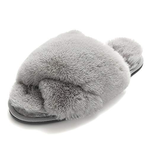 Zapatillas de Mujer Fuzzy Antideslizantes de Piel Sintética Suave Chanclas para Interior y Exterior