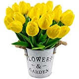 Foraineam 30 Pcs Fake Tulip Flowers Real Touch Tulip Artificial Flower for Home Office Wedding Party Festival Decor (Yellow)
