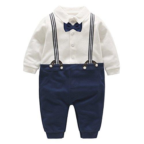 Famuka Baby Junge Smoking Neugeborenen Strampler (Blau, 6-9 Monate)