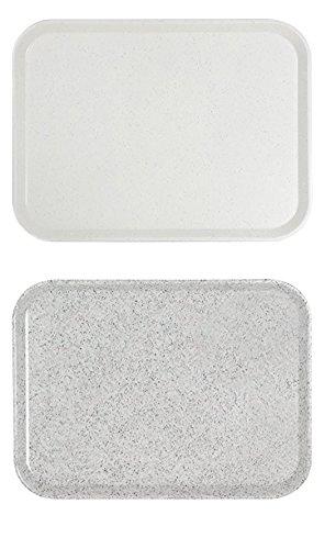Kantinen-Tablett aus glasfaserverstärktem Polyester, Stapelnocken, schlagfest und bruchstabil / 46 x 36 x 2,5 cm in lichtgrau oder granitgrau | ERK (A2 - 46 x 36 x 2,5 cm, Granitgrau)