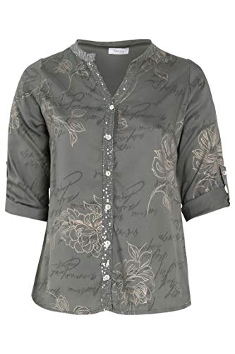 PAPRIKA Damen große Größen Tencel-Bluse mit aufgedruckten Schriftzügen und Blumen Maokragen 3/4 Ärmel