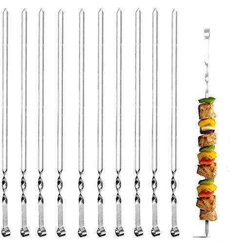 BTkviseQat 20 Stück Grillspieße Edelstahl Grill Kabob Spieße 38cm, Flat Schaschlikspieße Grillspieße Fleischspieße