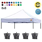 ABCCANOPY Pop Up Canopy Replacement Top Cover 100% Waterproof Choose, Bonus 4 x Weight Bags, 8x8 Tent Top Cover (White)