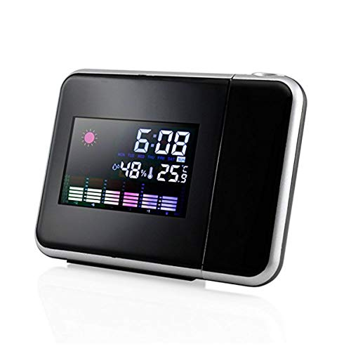 Nosii Pantalla Digital en Color con Reloj Despertador de Despertador Digital de proyección Original con luz de Fondo LED (Color: Negro)