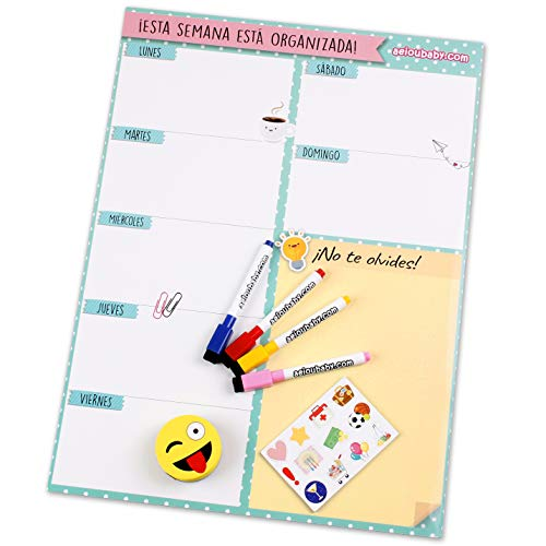 aeioubaby.com Planificador Semanal Magnético, 4 Rotuladores de Colores, 12 Imanes, 1 Borrador | Calendario Nevera 43x32cm Pizarra Cocina| Organizador Recordatorio Lista de la Compra Menú | Caja