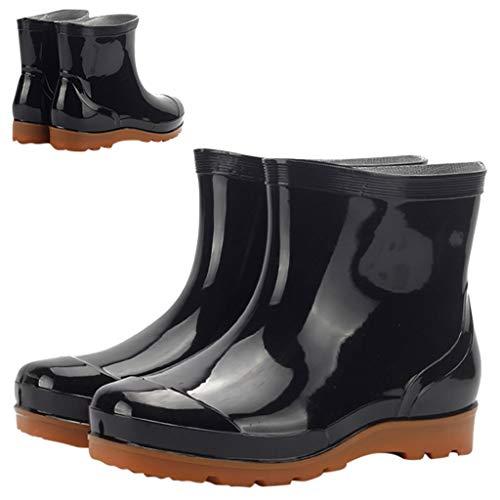 SUGEER Men Waterproof Snow Rain Boots Anti-Slip PVC Black Adult Outdoor Work Rubber Boots
