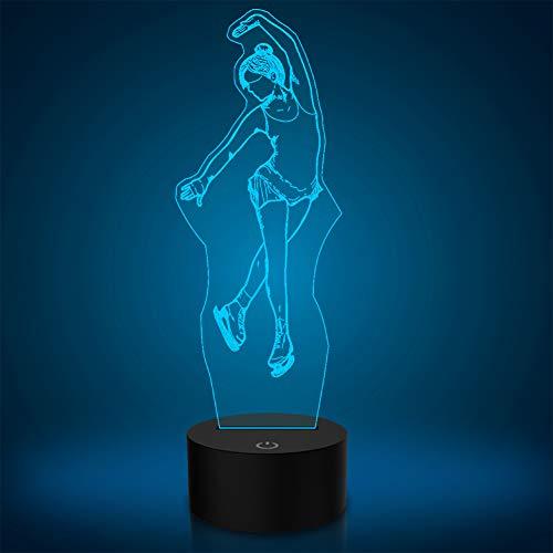 PONLCY Lámpara de ballet LED de ilusión 3D, luz nocturna, 7 colores intermitentes USB con sensor táctil para dormitorio, lámparas de escritorio para niños, regalos de cumpleaños, decoración del hogar