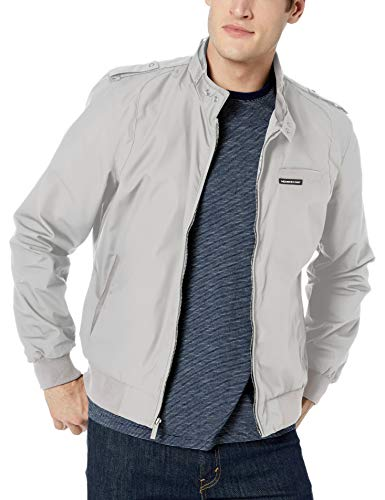 Members Only Men's Original Iconic Racer Jacket, Light Grey, Medium
