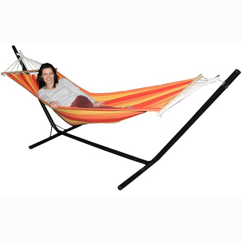 Redstone Luxury Hammock with Metal Stand - Huge 6ft 10in Hammock Length - 3 Height Options