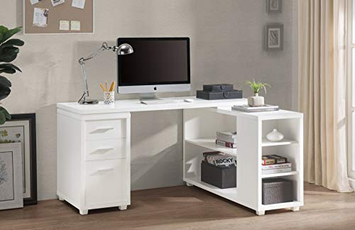2L Lifestyle  Fairbank L-Shaped Executive Desk White Finish, Large