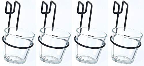 Novaliv Glas zum Aufhängen Teelicht Windlicht für Europlatten Hängetopf Palettenmöbel (4, Transparent)