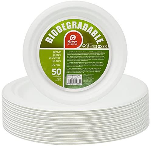 Best Product 100 Platos Blancos Redondos de 25 cm, Fabricado con Fibra Natural Caña de Azúcar,...