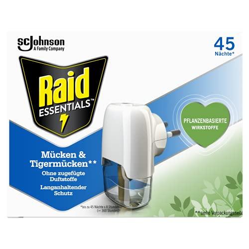 Raid Essentials Mücken-Stecker 45 Nächte, Elektrischer Insekten-Schutz vor Mücken und Tigermücken, 1er Pack (1 x 32 ml)