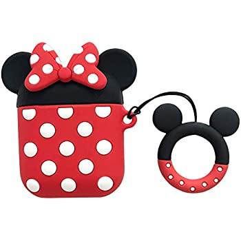 iFiLOVE Compatible with Airpods Case, Cute Cartoon Airpods Cover, Minnie Mouse Soft Silicone Shockproof Protective Case Cover Skin with Ring Buckle Holder for Apple Airpods 1 & 2 Charging Case (#2)