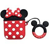 iFiLOVE Compatible with Airpods Case, Cute Cartoon Airpods Cover, Minnie Mouse Soft Silicone Shockproof Protective Case Cover Skin with Ring Buckle Holder for Apple Airpods 1 & 2 Charging Case(#2)