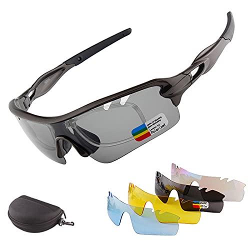 HVW Gafas De Sol Deportivas, Gafas De Sol De Ciclismo, Gafas De Ciclismo Polarizadas con 5 Lentes Diferentes De Protección UV para Hombres Y Mujeres, Conducción, Ciclismo, Pesca, Deporte,Negro