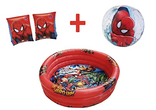 JOVAL -Pack Piscina refrescante Infantil Superheroes Marvel de 90x30 centímetros de diámetro, con Manguitos y Pelota incluidos. del Personaje Spiderman para Jardin terraza o casa