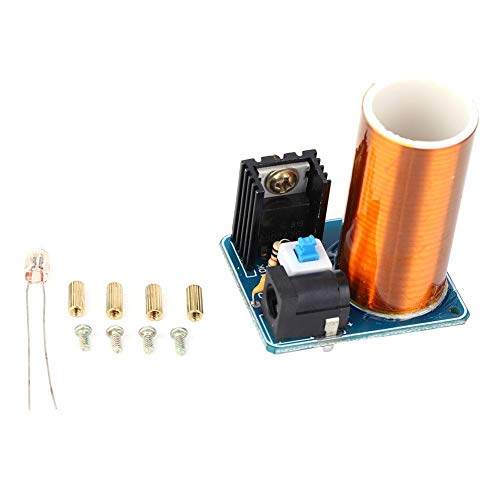 Longzhuo Mini Tesla Coil, Mini Tesla Coil Remote LED Spark Module Kit Kit Fai da Te elettronico DC12V(Finished Product)